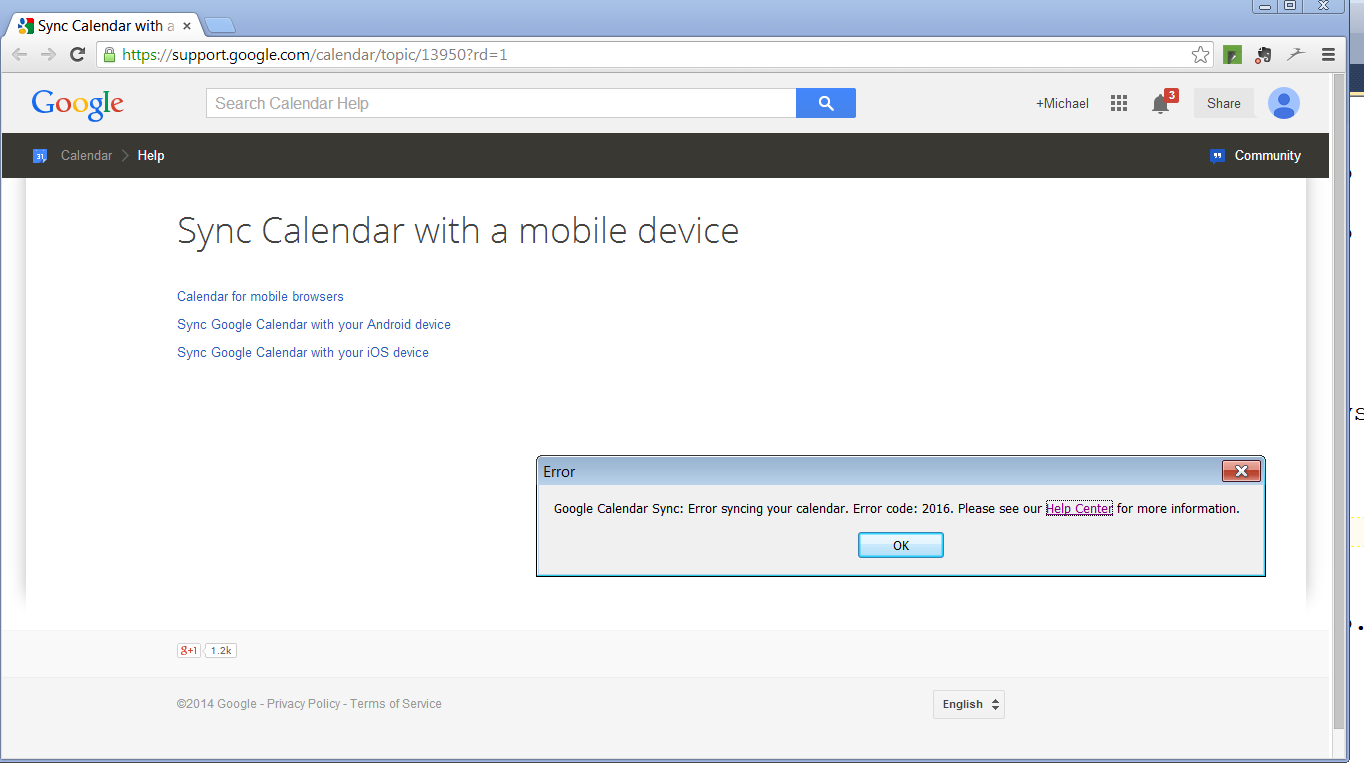 An unhelpful message from Google Calendar Sync
