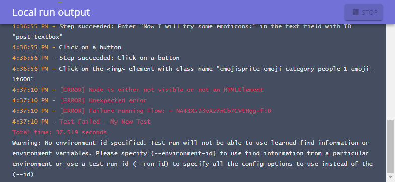 Local run output with errors