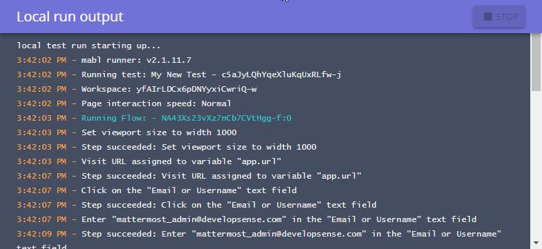 Local run output window