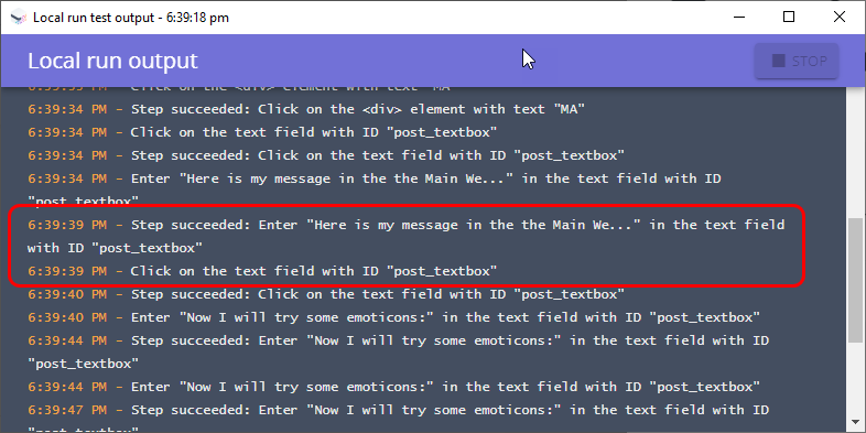 mabl Local run output suggests successful text entry